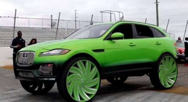აშშ-ში გამოჩნდა მწვანე Jaguar F-Pace-ი, რომელიც 81 სმ დისკებზე დგას