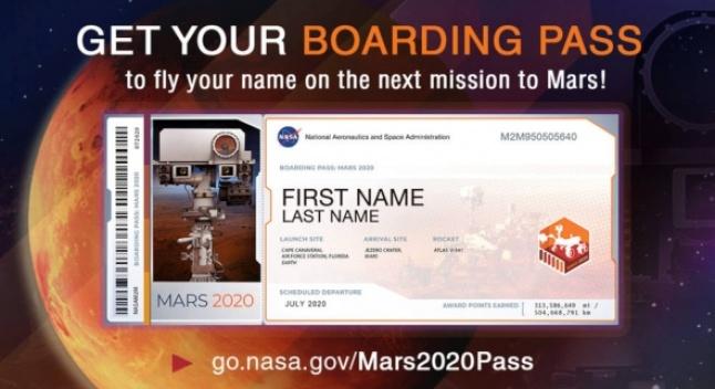 გაგზავნეთ თქვენი სახელი მარსზე NASA-ს მარსმავალით
